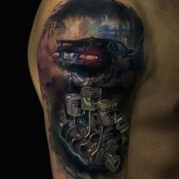 Illustrative style colored shoulder tattoo of modern racing car with engine