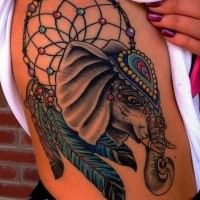New school style colored shoulder tattoo of saint elephant with dream catcher