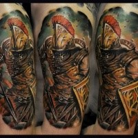 Illustrative style colored shoulder tattoo of ancient warrior