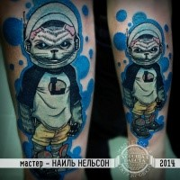 Illustrative style colored arm tattoo of evil space cat