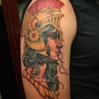 New school style colored shoulder tattoo of ancient woman warrior