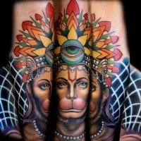 New school style colored arm tattoo of monkey queen with crown