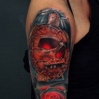 New school style colored shoulder tattoo of big turtle with skull and rose