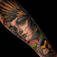 New school style colored forearm tattoo of beautiful woman with bird