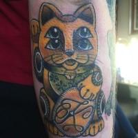 New school style colored arm tattoo of maneki neko japanese lucky cat cat with symbol