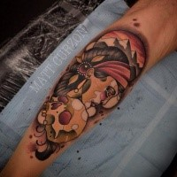 New school style colored leg tattoo of Indian woman with skull and big mountains