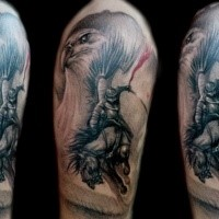 New school style colored shoulder tattoo of large eagle with samurai warrior