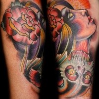 New school style colored forearm tattoo of mystical woman with skull and rose