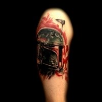 Illustrative style colored shoulder tattoo of Star Wars soldiers helmet