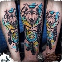 New school style colored forearm tattoo of dream catcher with wolf
