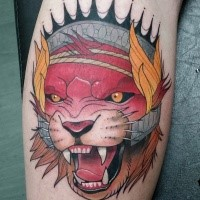 New school style colored leg tattoo of evil fantasy lion with crown