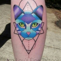 New school style colored leg tattoo of cat head with geometrical figures