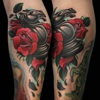 New school style colored leg tattoo of chess figure and rose