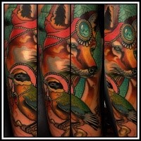 New school style colored arm tattoo of beautiful fox with bird and jewelry