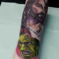 Unusual combined colored Jesus face tattoo on forearm combined with Hulk face
