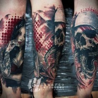Unusual combined colored military soldier skull tattoo on leg with mystic woman portrait