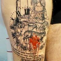 insolito combinazione dettagliato bianco e nero statua con coniglio su orologio tatuaggio su coscia