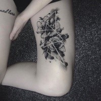 Unusual combined dotwork style thigh tattoo of flowers with triangles