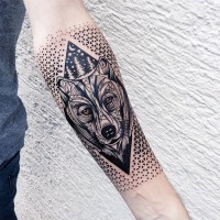 Unusual designed colored wolf face tattoo combined with geometrical figure and moon