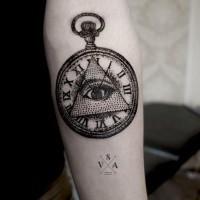Ungewöhnliche schwarzweiße Illuminati Maori Tattoo am Unterarm