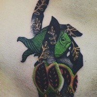 Unusual psychedelic painted by Joanna Swirska tattoo of human hand with fish