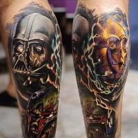 Tatuajes en las piernas, tema fantástico de la guerra de las galaxias