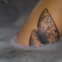 insolito stile dipinto nero e bianco testa di squalo tatuaggio su gamba