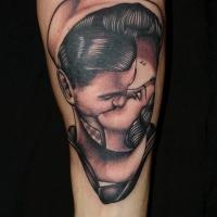 Unusual style painted vintage faceless portrait tattoo on arm