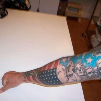 Usa flag and famous us presidents tattoo on arm