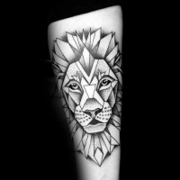 Usual black ink arm tattoo of lion head with geometrical figures