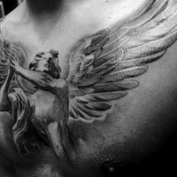 Usual designed black and white whole chest tattoo of praying angel