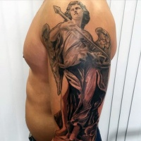 Usual designed colored angel with spear tattoo on half sleeve zone