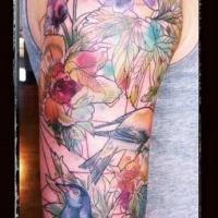 solito fatto a casa fiori e uccello colorato tatuaggio su braccio