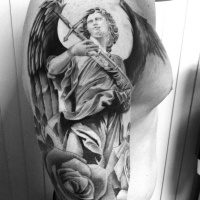 Usual style black and white angel warrior with great sword tattoo on shoulder with rose