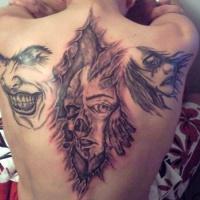 vari stile dipinto nero e bianco Joker faccia tatuaggio su spalla