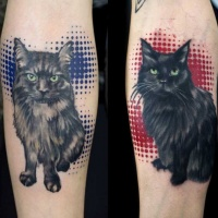 Tatuajes en los antebrazos, gatos preciosos encantadores