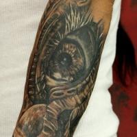 molto realistico come grande mistico occhio e cranio  tatuaggio avambraccio