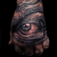 molto realistica nero e bianco occhio triste tatuaggio su mano