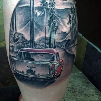 Very realistic looking colored classic car tattoo on leg