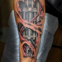 Very realistic looking multicolored biomechanical tattoo on arm