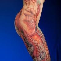 molto realistico naturale colorato sirena seducente tatuaggio su tutto lato
