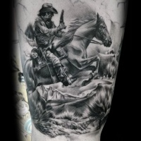 Very realistic looking old western movie like gunfight tattoo on thigh