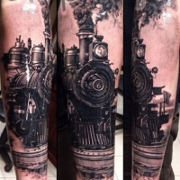Very realistic painted colored sleeve tattoo of enormous train