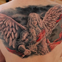 Video games style colored upper back tattoo of fantasy angel warrior