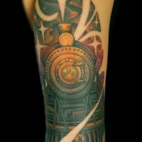 Vintage art style colored arm tattoo of big train and stars