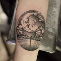Vintage black ink lonely walking person tattoo on arm with big moon