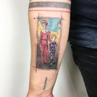 Vintage creative style colored forearm tattoo of card with clown