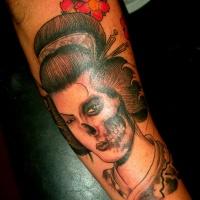 Vintage horror style black ink zombie geisha portrait