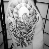 Vintage painting like black ink shoulder tattoo of glorious angel warrior and sun
