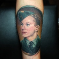 Vintage picture style colored arm tattoo of old warrior